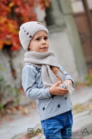 Детски шал в кафяво и бежово  - 1