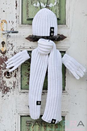 Детски ръкавички в бяло & черна кожа 1