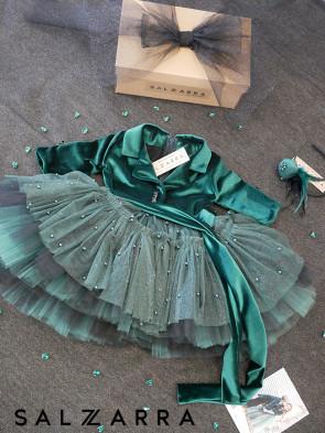 "Детска луксозна рокля  ""GREEN ROSE"" 1"