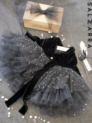 "Детска  луксозна рокля ""BLACK ROSE"" 1"